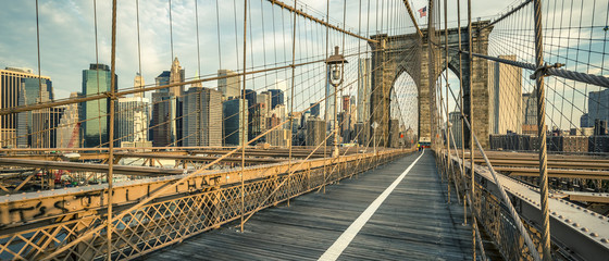 Famous Brooklyn Bridge in the morning
