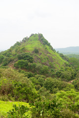 Hilly landscape view from sacred Dambulla Golden Cave Temple