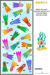 Summer vacations themed visual puzzle with colorful scuba diving flippers (suitable both for kids and adults): Find the flipper that has no pair. Answer included.