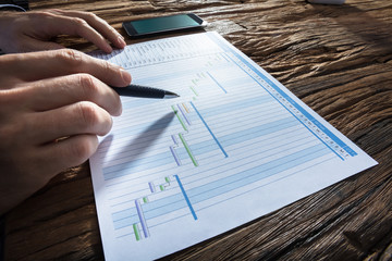 Fototapete - Businessperson's Hand Analyzing Gantt Chart