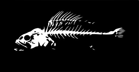 Fish skeleton. Black-and-white sketch. Vector illustration.