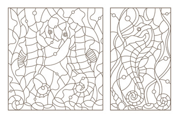 Set contour illustrations of stained glass with sea horses on a background of seaweed, dark outline on a white phone