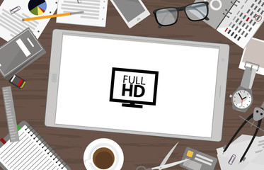 Schreibtisch mit Tablet - Full HD