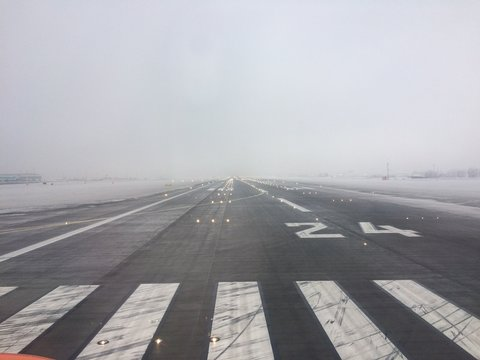 Foggy runway