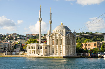 Beautiful Ortakoy mosque view from the river. Turkey.