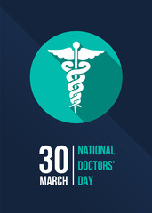National doctors' day with green the staff of hermes in circle sign on dark blue background banner vector design