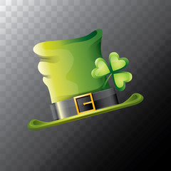 vector saint patricks day green glossy hat clover isolated on transparent background. vector vintage leprechaun green cartoon hat