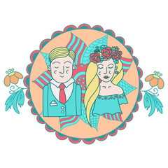 couple of newlyweds , doodles vector illustration