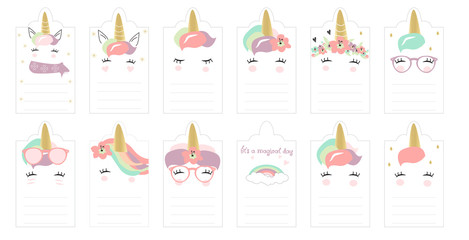 Cute Unicorn Calendar. Hand drawn kids doodle in vector