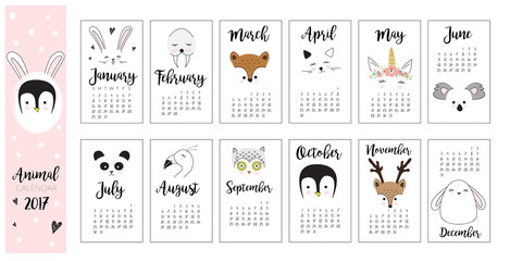 Cute Animal Calendar. Hand drawn kids doodle animal