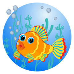 Cartoon fish and blue sea background vector illustration