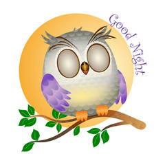Little owl sleep and tree branch with green leaves isolated on the white background. Cartoon baby owl vector illustration on the yellow sun background
