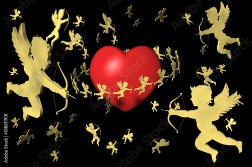 San Valentino Cuore E Cupido Sfondo Nero Stock Photo And Royalty