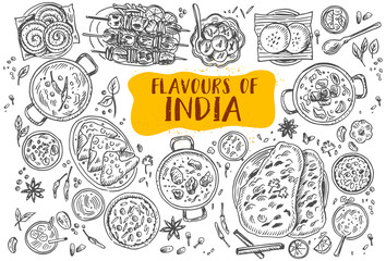 Hand drawn Indian food, Vector Illustration