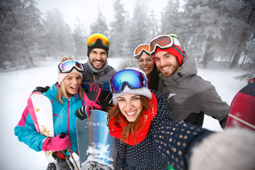 Skiers in mountain