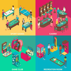 Game rooms vector flat 3d isometric illustration
