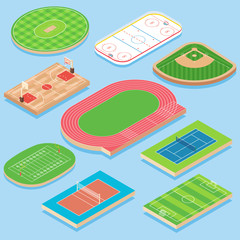 Sport field vector flat isometric icon set