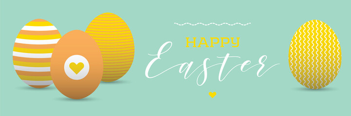 Happy easter banner with painted eggs