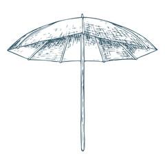 Beach umbrella on white background, cartoon illustration of beach accessories for summer holidays. Vector