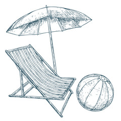 Beach umbrella and lounge chair on white background, cartoon illustration of beach accessories for summer holidays. Vector
