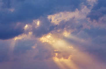 Beautiful, heavy clouded blue sunset sky