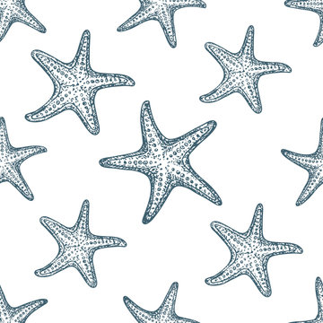 Seamless pattern starfish on white background, cartoon illustration of beach summer background. Vector. Vector