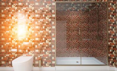 Scandinavian bathroom, classic  vintage interior design. 3D rendering.. Sunset