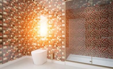 Modern bathroom including bath and sink. 3D rendering.. Sunset