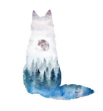A silhouette of a fox with the forest landscape inside. Watercolor illustration of a fox in its habitat.