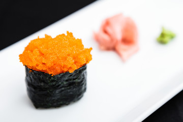 Flying fish roe masago served on a plate