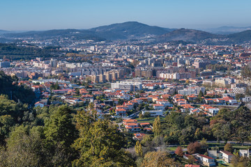 Aerial view of Braga city in Bom Jesus do Monte (Good Jesus of the Mount) sanctuary in Tenoes, outside the city of Braga, Portugal