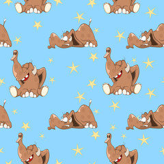 Background with Cute Elephants. Seamless Pattern