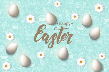 "Easter poster with eggs, chamomile hand made trendy lettering ""Happy Easter"" on blue pattern with paschal symbols in sketch style. Banner, flyer, brochure. Background for holidays, postcards, websites"
