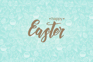"Easter background with hand made trendy lettering ""Happy Easter""on blue pattern with paschal symbols in sketch style. Banner, flyer, brochure, advertising. Layout for holidays, postcards, websites"