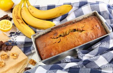 close-up of freshly baked banana bread