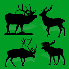 Collection Forest animals (mammals) Deer and moose, on a green background