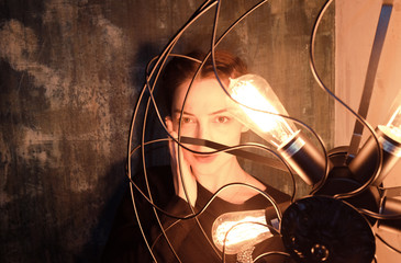 woman and retro lamps