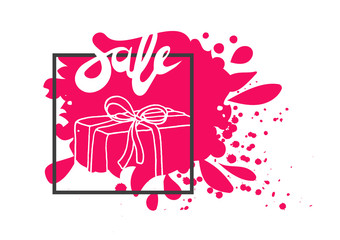 Template of gift box. Doodle vector