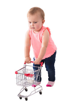 Baby Girl Holding Small Shopping Cart