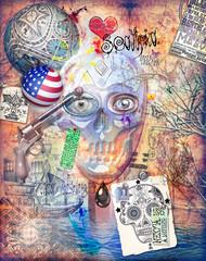 Murales con teschio,cuore,pistola,graffiti e collage