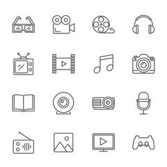 Multimedia vector icons set line style