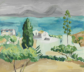 Hand painting of mediterranean sea landscape