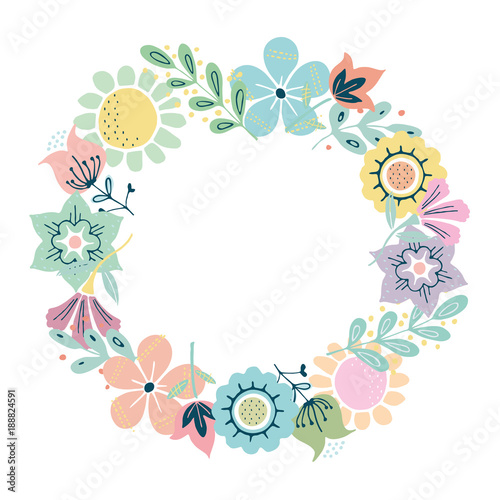 Beautiful Greeting Card With Floral Wreath Illustration Can Be Used As Creating Invitation