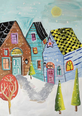 Gouache painting winter town