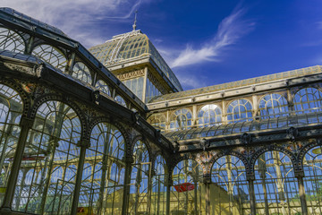 Madrid, Spain Palacio de Cristal iron framework external view detail.