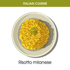 Italian cuisine risotto Milanese rice vector icon for restaurant menu or cooking recipe template