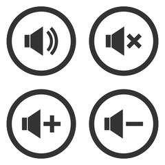 Sound volume control buttons set. Mute, unmute, quieter, louder icons in circle. Vector.