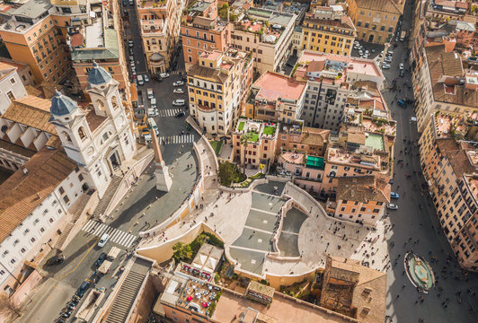 Aerial view of Piazza di Spagna and the Spanish Steps in Rome