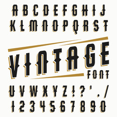 Vector set of vintage font.