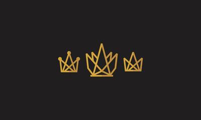 crown, gold, monarchy, monoline, emblem symbol icon vector logo